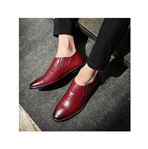 Cuir Business Red Mode Casual Jeunes Chaussures Coiffeur LYZGF Ronde En Hommes Tête O4vwqgAx