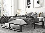 Amolife Metal Platform Bed Frame with Wood Slat Support,Mattress Foundation, Queen Size Bed Frame, Black