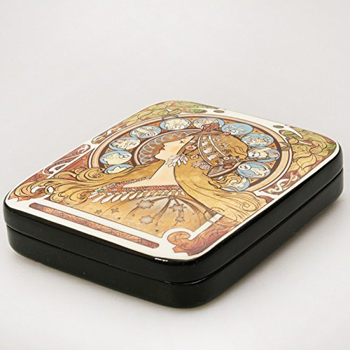 Beautiful Hand-painted Papier-mache Lacquer Box for Jewelry Zodiac Lacquer Box (A. Mucha) Great Gift for (Mucha Woman Book)