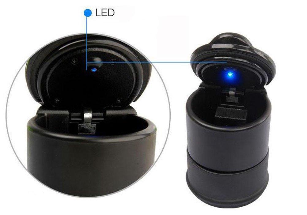 9.5cm Leisial 1 Pieza Port/átil Cenicero LED con Tapa de Coche Mesa Pl/ástico para Hogar Oficina Interiores Exteriors Suministros Almacenamiento 7 7