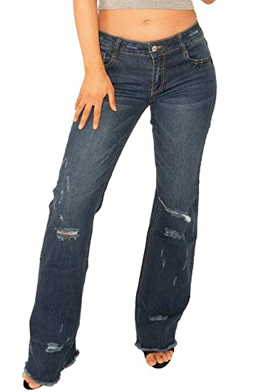 881c04a203a 60s 70s Style Ripped Distressed Denim Bootcut Flared Jeans with Frayed Leg  Ends - Blue (