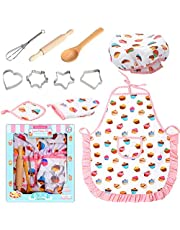 Kids Cooking and Baking Set, Kids Cooking Playset, Chef Dress Up Outfit Set with Kids Apron, Chef Hat and Other Accessories, Children Pretend Role-play Cooking Toy for Age, The Best Gift for Christmas (White)