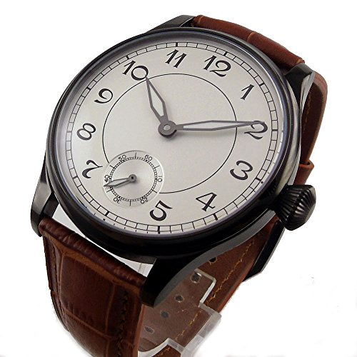 Parnis 44mm White Sterile Dial Seagull 17 Jewels 6498 Hand Winding Movement Men's Pilot Watch Luminous