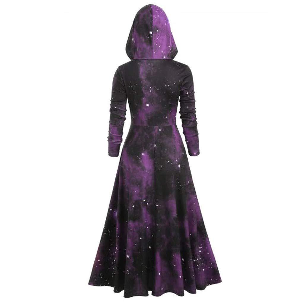 Yukong Halloween Vintage Retro Dress with Hood Galaxy Printed Long Sleeve Casual Swing Dress