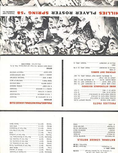 1958 Philadelphia Phillies Spring Training Roster guide