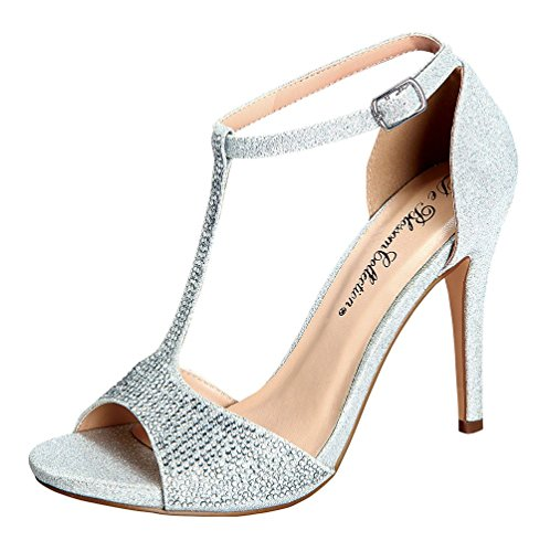 De Blossom Collection Macy-14 Womens T-Strap DOrsay Shimmering Dress Heeled Sandal Silver 7 iSWcn6l3HH