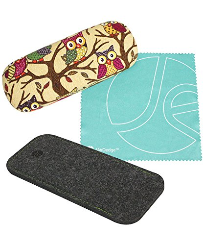 (2 PCS SET) Beige Owl Fabric Print Eyeglass Clam Shell Style Case + Felt Eyeglass Pouch Set w/Microfiber Glasses Cloth by JAVOedge