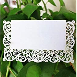 Taka Co Name Place Cards Wedding Party Table Chic Pearlescent Decor 20Pcs/Lot Lace Name Place Cards Table Name Message Beige White Greeting Card