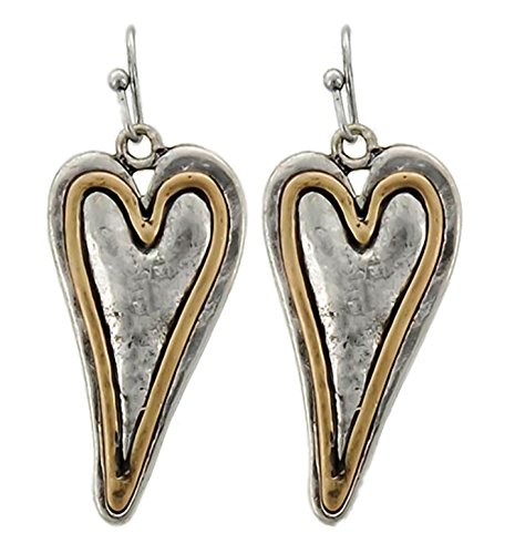Dangle Earrings Lovely Two-Tone Silver and Gold Tone Hearts
