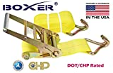 (8) Boxer Dual Locking DOT 4'' X 30' Ratchet Straps W/ Wire Hooks Flatbed Truck Trailer Tie Down 5400 LB US Made