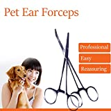 Pet Dog Cat Pinzas Pinzas del pelo del oído del tirador recto Curado Herramientas Pinzas de belleza
