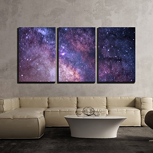 - wall26 - 3 Piece Canvas Wall Art - Cosmos Concept in Purple - Modern Home Decor Stretched and Framed Ready to Hang - 16