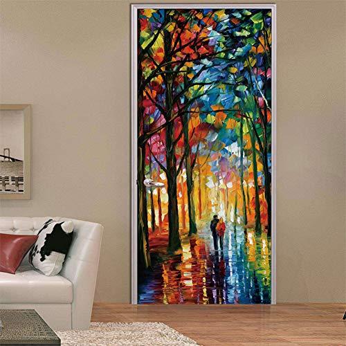 (3D Door Decal Door Stickers Decor Door Mural Removable Vinyl Door Wall Mural Door Wallpaper for Home Decor(Oil Painting) )