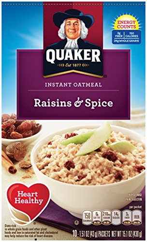 Quaker Instant Oatmeal, Raisin & Spice, Breakfast Cereal, 10 count , 1.51 oz Packets Per Box (Pack of 4) Quaker Raisins