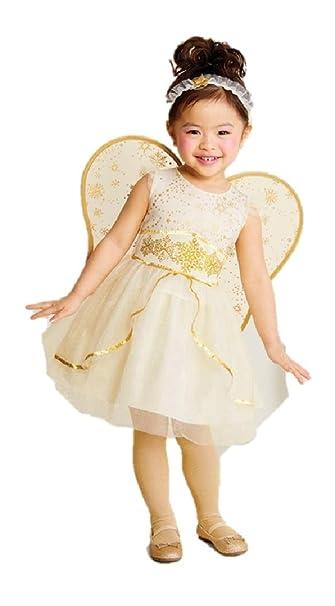 Amazon.com: Disfraz de ángel dorado con alas para niñas Hyde ...