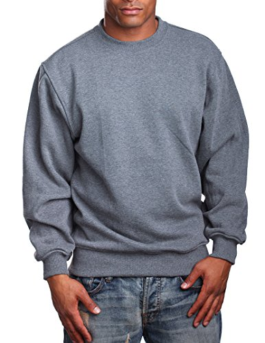 - PRO 5 Mens Heavy Weight Fleece Crewneck Pullover, Large, Dark Grey