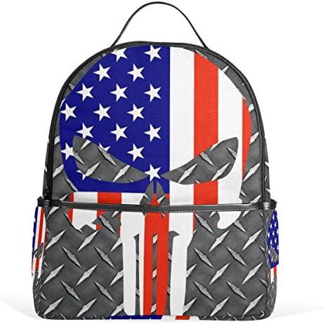 f7ec6ade31 JSTEL American Flag Skull School Backpack 4th 5th 6th Grade for Boys Teen  Girls