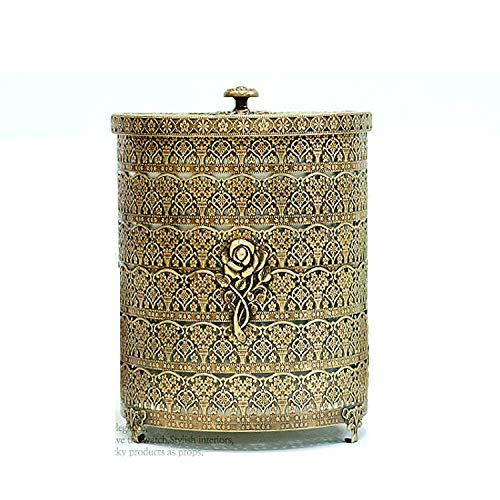 SEHAMANO Rose Patterned Antique Wastebasket, Vintage Decorative Small Trash Can, Garbage Container Bin for Vanity, Bedroom, Kitchen, Powder Rooms, Home Office Rubbish Bin (Small, Brass (Matt Gold)) (Brass Basket Vintage)