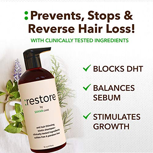Restore Biotin Hair Growth, Vegan Shampoo with Dht Blocker, Hair Care for More Voluminous, Thicker Hair, 16oz - Sayar Care 2