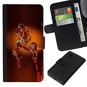 KLONGSHOP // Tirón de la caja Cartera de cuero con ranuras para tarjetas - Caballo Cera Arte Estatua Animales Corona - LG Nexus 5 D820 D821 //