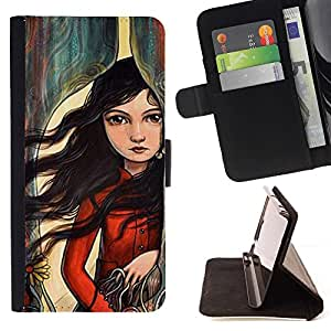 Momo Phone Case / Flip Funda de Cuero Case Cover - Arte muchacha del pelo profundo Emo Hipster - MOTOROLA MOTO X PLAY XT1562