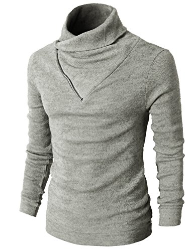 H2H Mens Fashion Turtleneck Slim Fit Pullover Sweater Oblique Line Bottom Edge GRAY US XL/Asia 2XL (KMTTL041) ()
