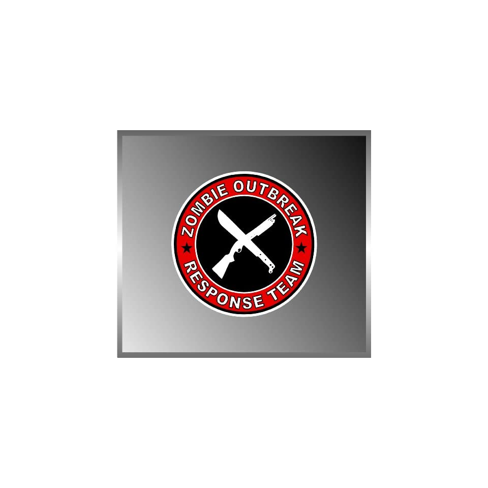Zombie Outbreak Response Team Shotgun and Machete Vinyl Decal Bumper Sticker 5x5