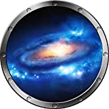 12'' Porthole Instant Space Ship Window View NEBULA & STARS #1 SILVER Wall Sticker Kids Decal Room Home Art Décor Graphic SMALL