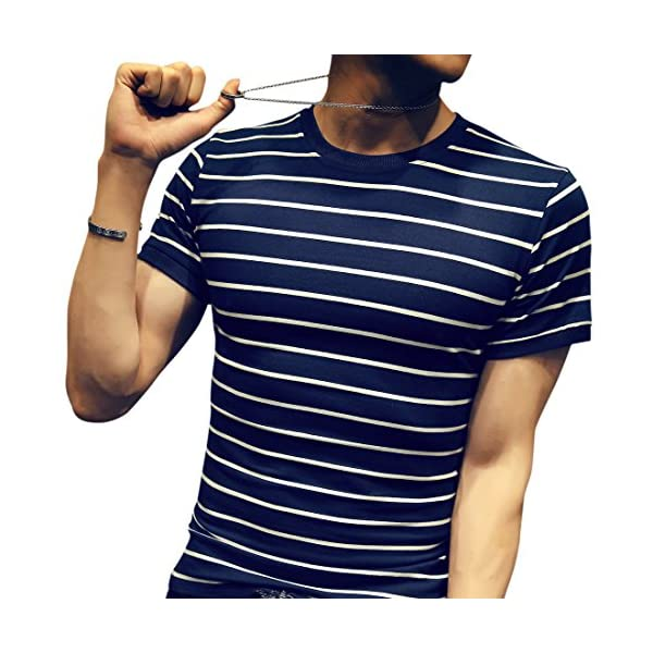 LOGEEYAR Mens Summer Short Sleeve Slim Fit Contrast Color Stitching Stripe Polo Casual T-Shirts