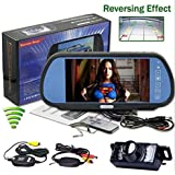 "BW® 7"" TFT LCD Key Touch Car Rearview Mirror Monitor + Parking Waterproof Night Vision Wireless Backup Camera System"