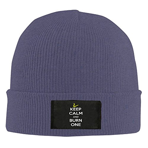 Keep Calm And Burn One Smoking Cigarette Wool Hat Slouchy Beanie Winter 2016 Watch Cap WinterHats StockingHat