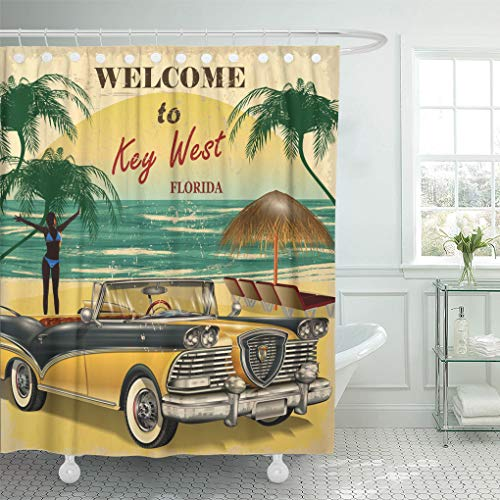 - Emvency Shower Curtain Vintage Welcome to Key West Florida Retro Beach Shower Curtains Sets with Hooks 72 x 78 Inches Waterproof Polyester Fabric