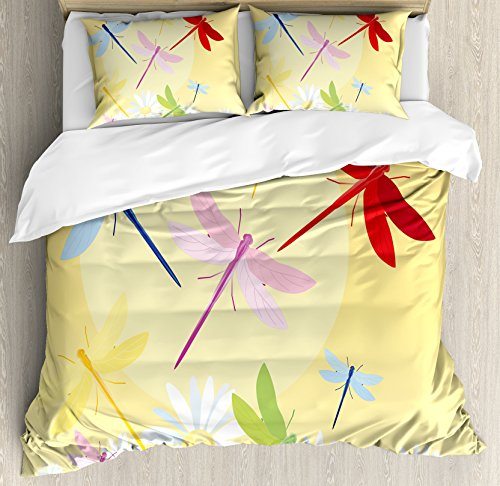 Dragonfly King (Dragonfly Duvet Cover Set King Size by Ambesonne, Flower Field in Spring Season with Chamomiles and Sun Figure on the Back Graphic, Decorative 3 Piece Bedding Set with 2 Pillow Shams, Multicolor)