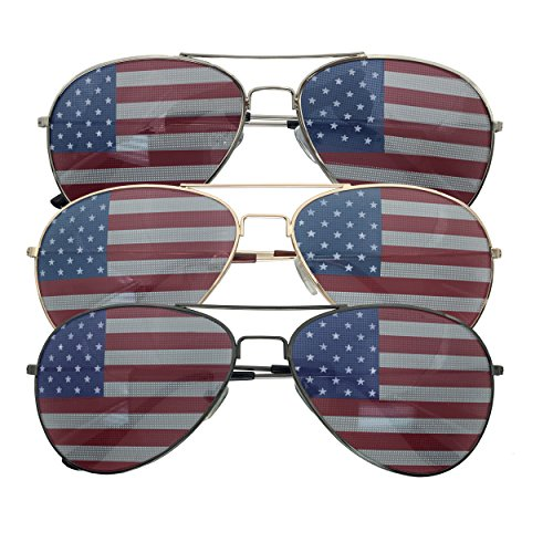 (3 Pack Bulk USA America Glasses - American Flag Aviator Sunglasses - Assorted Colors)