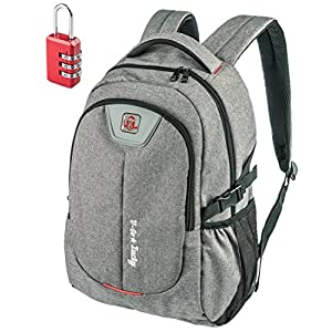 Laptop Backpack for Men Women - Fits up to 17 inch Laptop Computer - Best Travel Carry on College Student Work Backpack - Water-resistant Backpack with Lock - 35l Grey