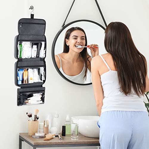 Travel Toiletry Bag with Hanging Hook, Waterproof Makeup Cosmetic Travel Bag Organizer for Toiletries and Accessories, Perfect Bathroom Bag for Women/Men