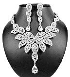 Janefashions Large Floral Austrian Rhinestone Crystal Bib Necklace Earrings Set Wedding N1581 Silver
