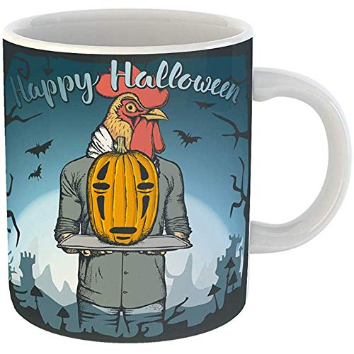 (Coffee Cups Tea Mug Gift 11 Ounces Funny Ceramic Chicken of Rooster Celebrating Halloween Pumpkin Animal Gifts For Family Friends Coworkers Boss)