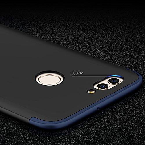 Funda Huawei Nova 2, Huawei Nova 2 Funda Case, PLECUPE la moda Ultra Thin Desmontable 3 en 1 Dura PC Plástico Case Cárcasa Caja Cover, Ultra Delgado Fino 360 Grados Integral Cobertura Completa Anti Ra Azul + Negro