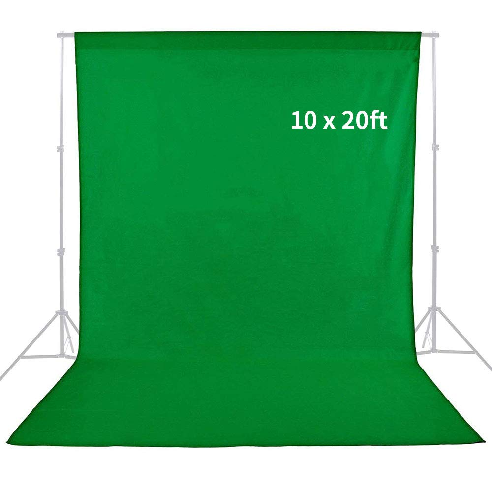 MOUNTDOG 10ft x 20ft Professional Green Photography Muslin Backdrop Screen Cotton Chromakey Background Screen for Studio Photo Video Photography (Stand NOT Included)