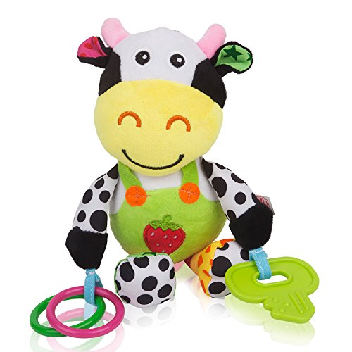 Musical Cow Soft Plush Baby Toy Rattle with Teether by Zig Zag Kid