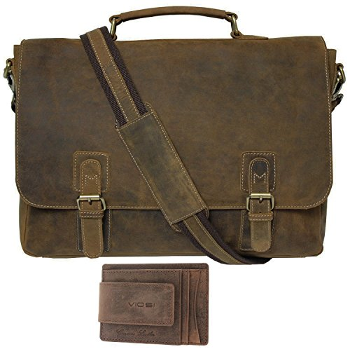 e26f17705276 Viosi Mens RFID Leather Messenger Bag   14 or 16 Inch Laptop