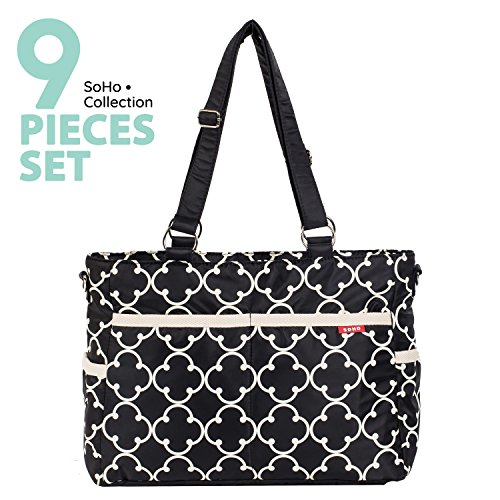 SoHo diaper bag Charlotte 9 pieces nappy tote travel bag for baby baby mom dad stylish insulated unisex multifuncation large capacity durable includes changing pad stroller straps mesh bag Black ()