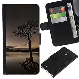 YiPhone /// Tirón de la caja Cartera de cuero con ranuras para tarjetas - Solitaria Lago Árbol - Samsung Galaxy S4 Mini i9190