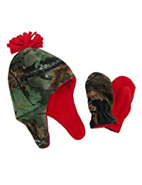 Grand Sierra Boys' 2-4 Fleece Camouflage Hat and Mitten Winter Set, Camo and Red