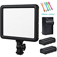 Godox LEDP120C CRI95+ TLCI95+ Ultra-Thin Lightweight 3300K-5600K LED Video Light Panel ,Adjustable Color Temperature &Light Brightness Compatible DSLR Cameras,Camcorders+2xNP-F550 Battery&Charger