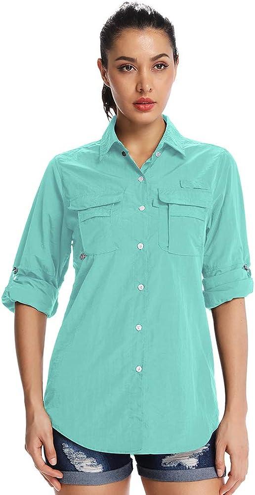 Asfixiado Women Long Sleeve UV Sunscreen Hiking Shirts, UPF 50 Sun Protection Quick Qry Cooling Fishing Safari T-Shirt