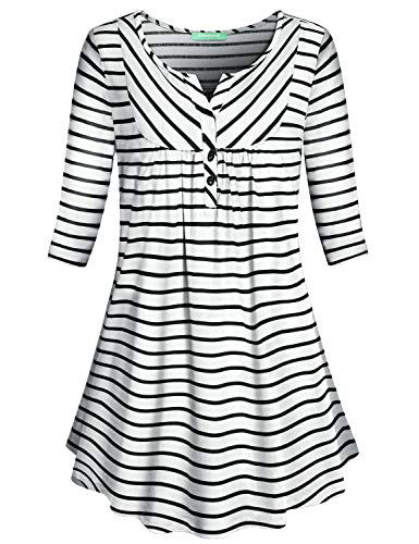 Sleeve Striped V-neck Top - Kimmery Elbow Sleeve Shirts Women, Notch V Neck Tunic Black and White Striped Tops Color Block Business Casual Petite Clothes Ladies Cute Office Work Relaxed Fit Blouse Jersey Stretch Medium