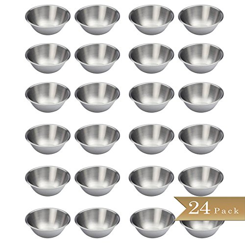 Set of 24 - TrueCraftware Stainless Steel Mixing Bowls - 6.5'' Wide - Flat Bottom and Rim by TrueCraftware