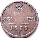 AUSTRIAN EMPIRE 1852-V VENICE 3 CENTS...FOREIGN COIN